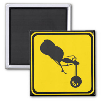 Road Sign Trikes Crossing 2 Inch Square Magnet