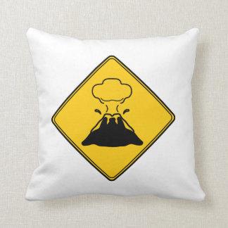 Road Sign- Volcano Throw Pillows
