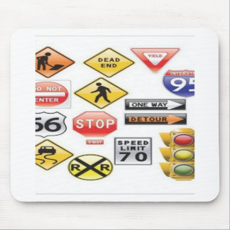 Road signs and traffic light design mouse pad