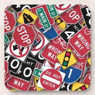Road signs design beverage coaster
