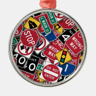 Road signs design round metal christmas ornament