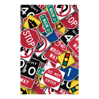 Road signs design stationery