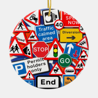 Road Signs Double-Sided Ceramic Round Christmas Ornament
