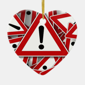 Road Signs ! Double-Sided Heart Ceramic Christmas Ornament