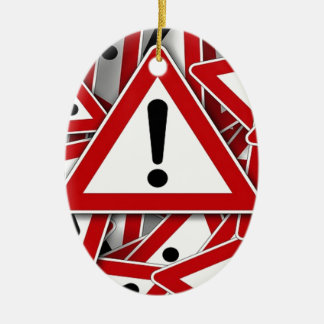 Road Signs ! Double-Sided Oval Ceramic Christmas Ornament