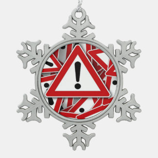 road signs ! snowflake pewter christmas ornament