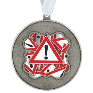 road signs ! scalloped pewter christmas ornament