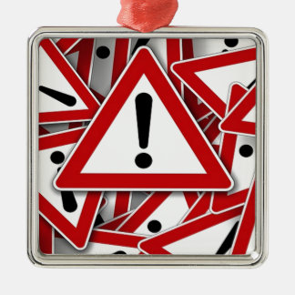 Road Signs ! Square Metal Christmas Ornament