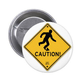 Road Signs Yellow Warning Sign Caution Tripping Pinback Button