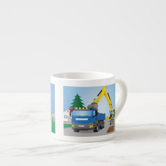 Road site with blue truck and yellow excavator espresso cup