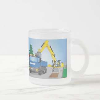 Road site with blue truck and yellow excavator frosted glass coffee mug