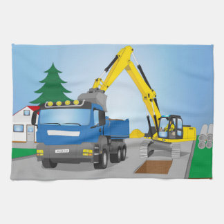Road site with blue truck and yellow excavator kitchen towel