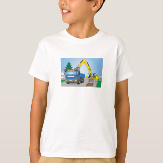 Road site with blue truck and yellow excavator T-Shirt