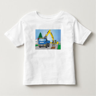 Road site with blue truck and yellow excavator toddler t-shirt