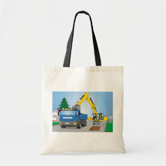 Road site with blue truck and yellow excavator tote bag