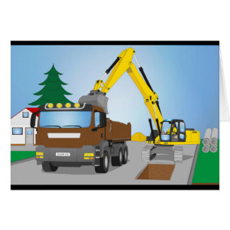 Road site with brown truck and yellow excavator card