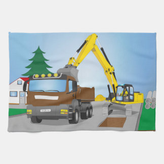 Road site with brown truck and yellow excavator kitchen towel
