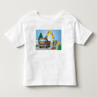 Road site with brown truck and yellow excavator toddler t-shirt
