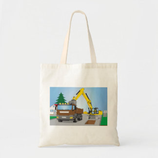 Road site with brown truck and yellow excavator tote bag
