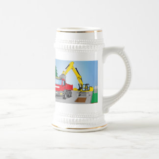 Road site with red truck and yellow excavator beer stein