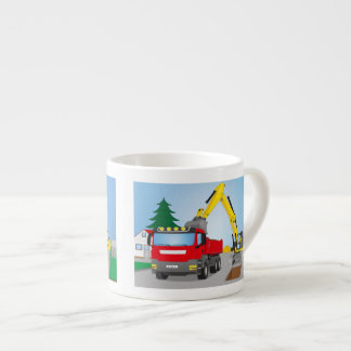 Road site with red truck and yellow excavator espresso cup