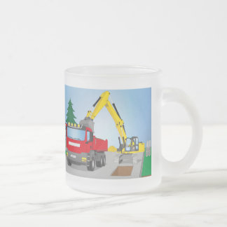 Road site with red truck and yellow excavator frosted glass coffee mug