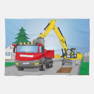 Road site with red truck and yellow excavator hand towel