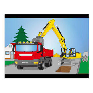 Road site with red truck and yellow excavator postcard