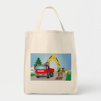 Road site with red truck and yellow excavator tote bag