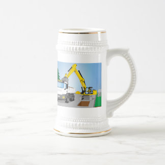 Road site with white truck and yellow excavator beer stein