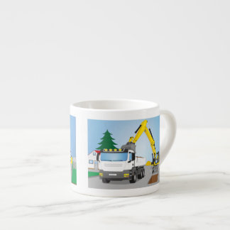 Road site with white truck and yellow excavator espresso cup