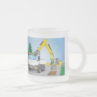 Road site with white truck and yellow excavator frosted glass coffee mug