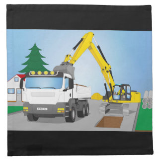 Road site with white truck and yellow excavator napkin