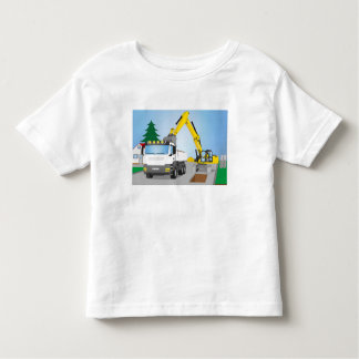 Road site with white truck and yellow excavator toddler t-shirt