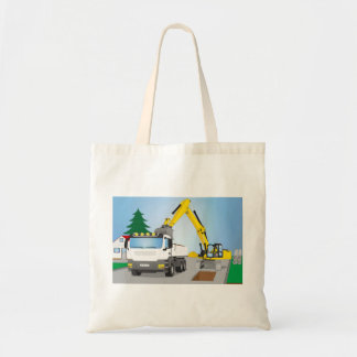 Road site with white truck and yellow excavator tote bag