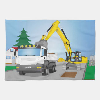 Road site with white truck and yellow excavator towel