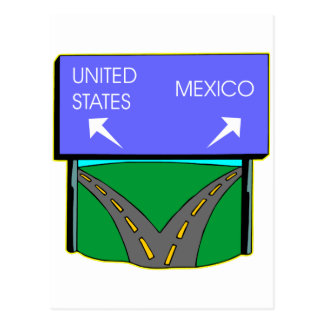 Road Splits Going To USA Or Mexico Postcard