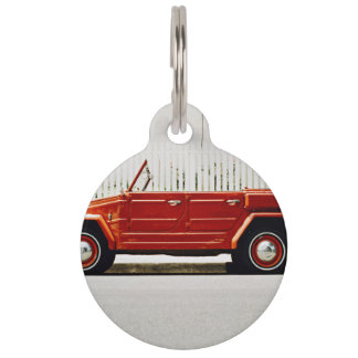 Road Themed, A Vintage Red Car Parked On The Side Pet Tag
