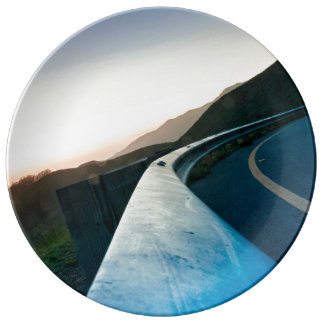 Road Themed, Curving Sharp Bend Highway Guardrail Dinner Plate