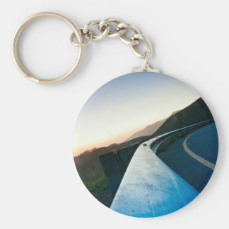 Road Themed, Curving Sharp Bend Highway Guardrail Keychain