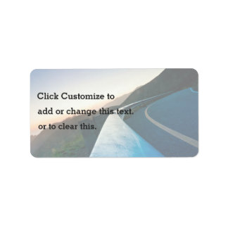 Road Themed, Curving Sharp Bend Highway Guardrail Label