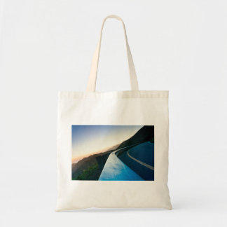 Road Themed, Curving Sharp Bend Highway Guardrail Tote Bag