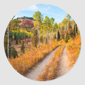 Road Through Autumn Colors Classic Round Sticker