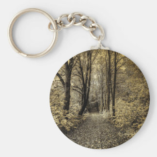 Road through the forest basic round button keychain
