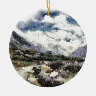 Road through the mountains ceramic ornament