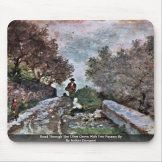 Road Through The Olive Grove With Two Passers Mousepads