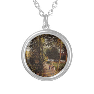 Road to Berneval-le-Petit by Camille Pissarro Round Pendant Necklace