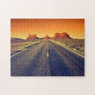 Road To Monument Valley At Sunset Jigsaw Puzzle