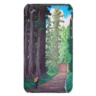 Road to Nikko Hasu Kawase forest shin hanga scene iPod Case-Mate Case