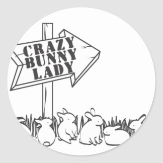 ROAD TO THE CRAZY BUNNY LADY CLASSIC ROUND STICKER